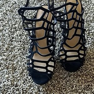 Mossimo, strappy, black, three inch heels.